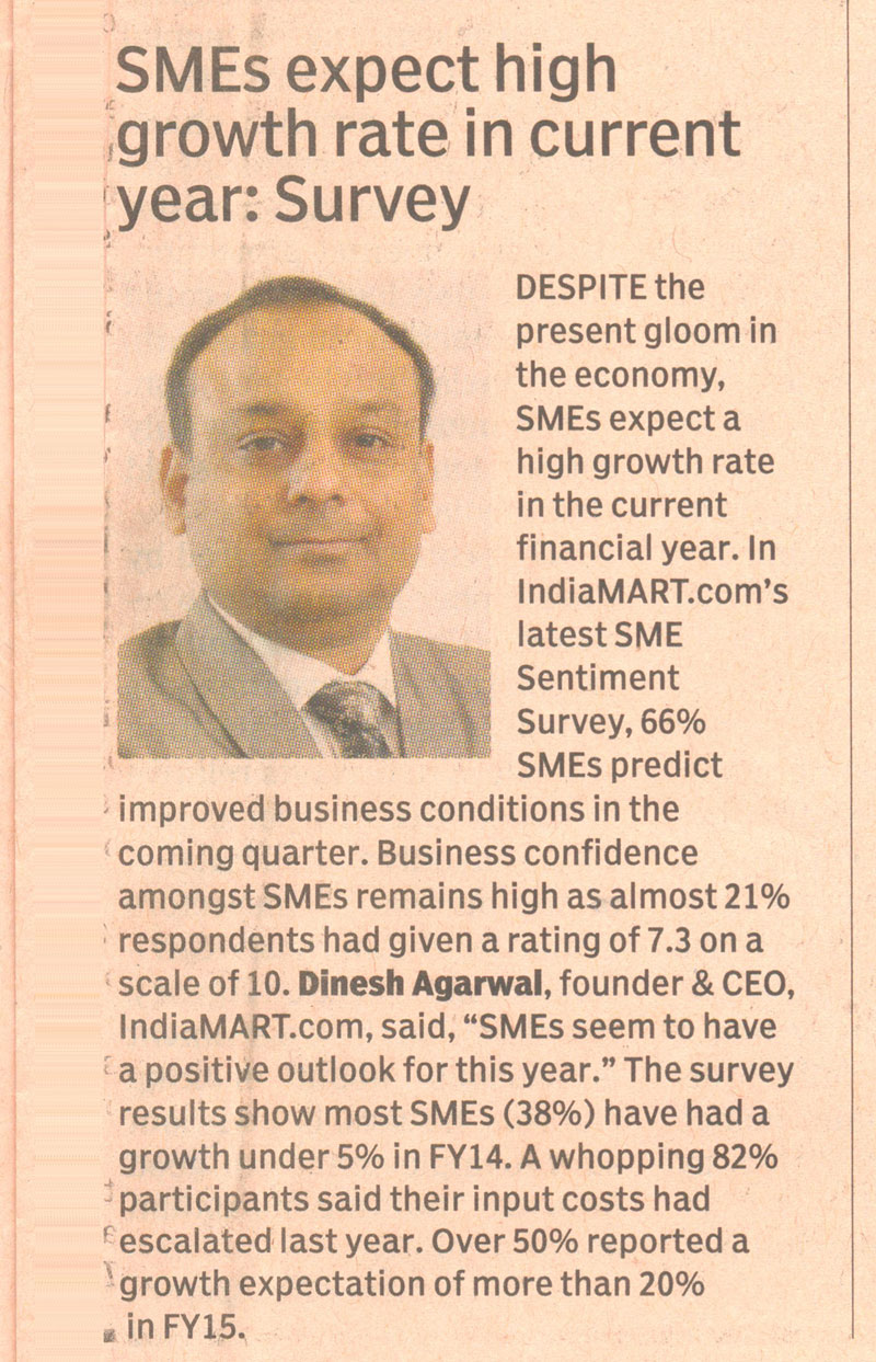 SMEs expect high growth rate in current year