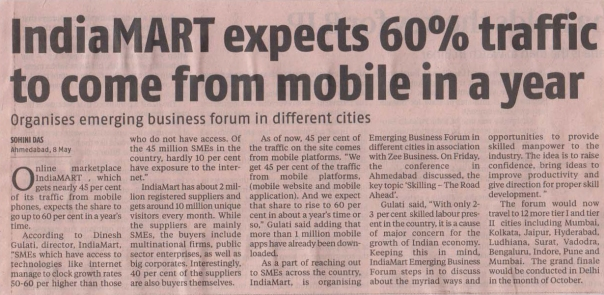 IndiaMART expects 60% traffic to come from mobile in a year