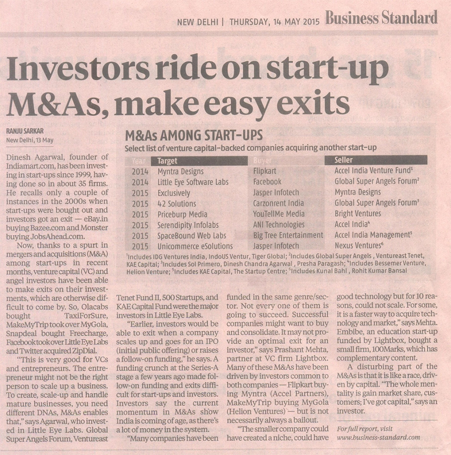 Investors ride on start-up M&As, make easy exits