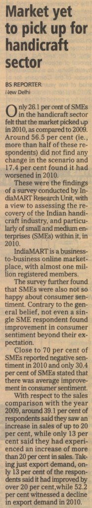 Market yet to pick up for handicraft sector