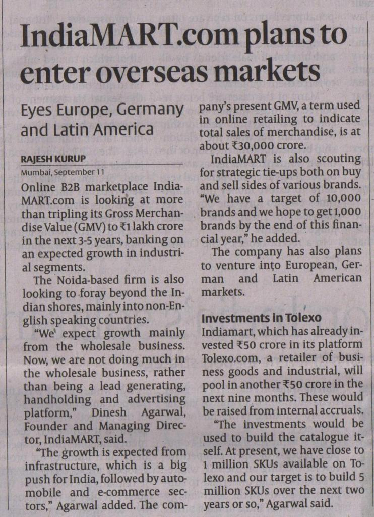September 12-The Hindu Business Line-IndiaMART.com plans to enter overseas markets(7)