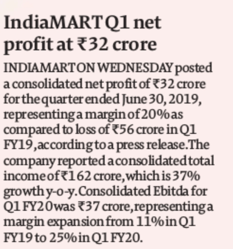 Indiamart posts profit of Rs 31.4 cr in Q1, FY'20 | The Times of India