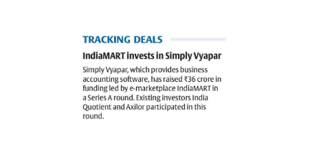 Vyapar, Mobile Billing software for MSMEs raises Rs 36 cr from IndiaMART | The Asian Age